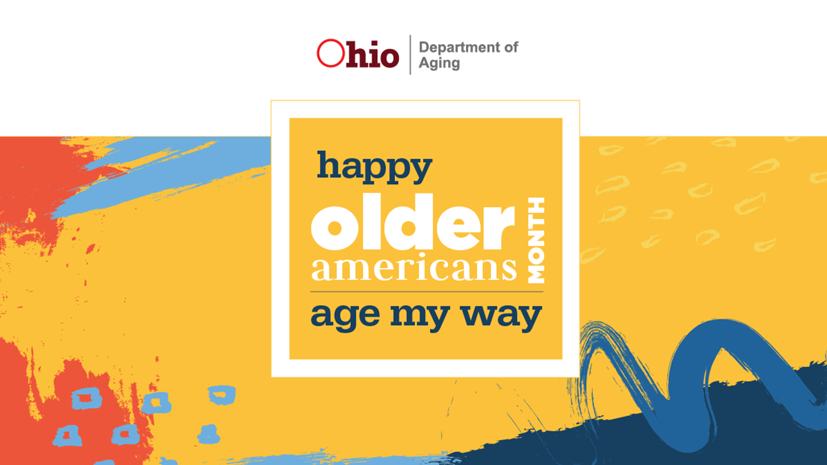 Image is the Older Americans Month Logo. It features green, purple, and blue stylized stick figures forming a flower-like shape with a white heart as its base. It includes the theme: Communities of Strength.