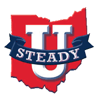 Image is the STEADY U Ohio falls prevention inititiative logo. It features a large letter U and the word STEADY on a blue banner in front of a red shape of the state.
