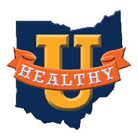 Image shows the HEALTHY U Ohio initiative logo: A large letter U with an orange banner with the word HEALTHY over a dark blue shape of the state of Ohio.