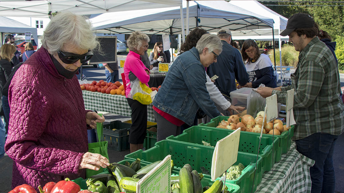 Image shows two older women in jackets browsing a selection of colorful late summer produce like peppers, onions, cucumbers, and more.
